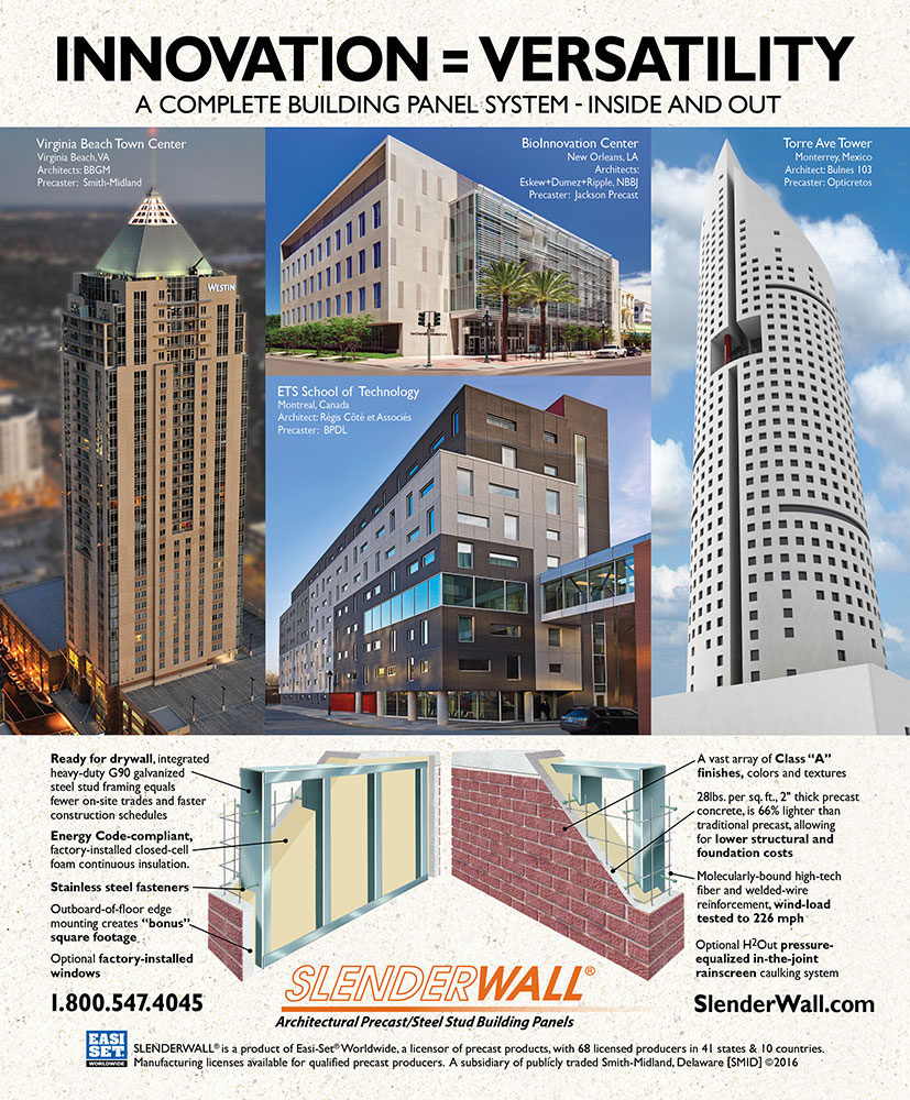 Ad Architecture slenderwall as seen in national publications   wall panel system
